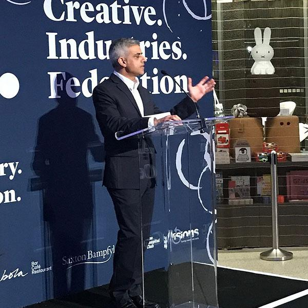Sadiq Khan speaking at Creative Industries Federation event