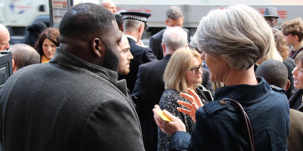 Deputy Mayor Sophie Linden speaks with a member of the public after the Knife Crime Summit