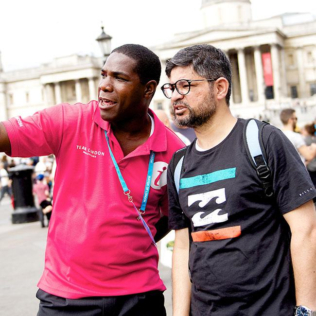 A Team London Ambassadors on shift at Trafalgar Square