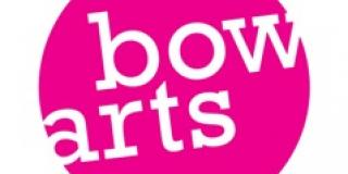 Bow Arts logo, pink circle with white lettering