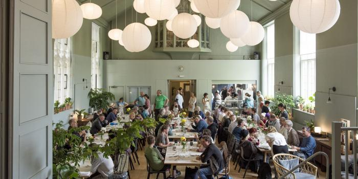 Image of busy hall during lunch service