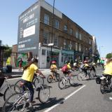 Young people cycling in Hackney