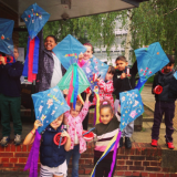 Young carers with their hand-made kites.